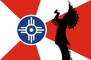Wichita Flag with The Keeper of the plains.
